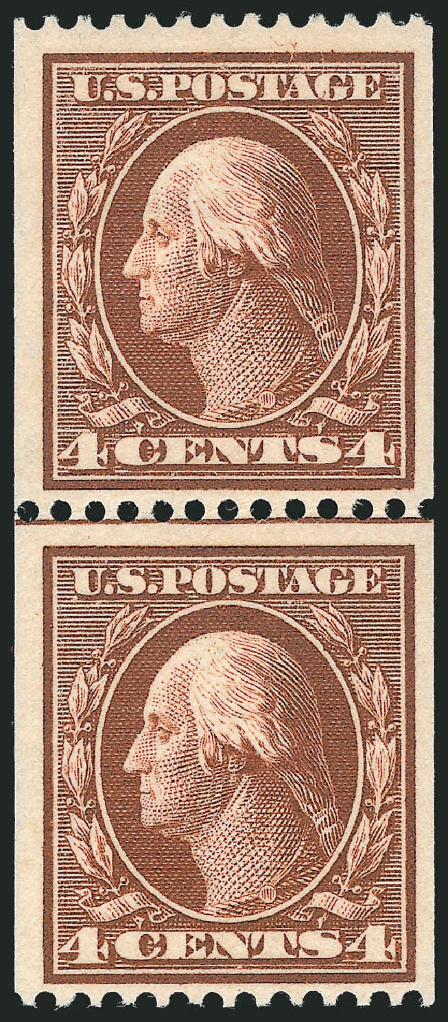 US Stamp Values Scott Catalogue 350: 1910 4c Washington Coil. Robert Siegel Auction Galleries, Feb 2015, Sale 1093, Lot 120