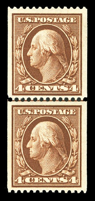 Costs of US Stamp Scott Catalogue # 350 - 1910 4c Washington Coil. Cherrystone Auctions, Jul 2015, Sale 201507, Lot 2121
