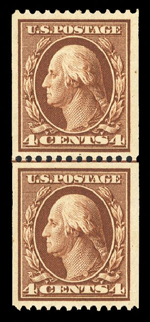 Cost of US Stamps Scott Catalogue # 350 - 4c 1910 Washington Coil. Cherrystone Auctions, Jul 2015, Sale 201507, Lot 74