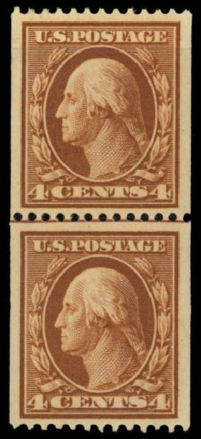 US Stamps Price Scott Cat. # 350: 4c 1910 Washington Coil. Daniel Kelleher Auctions, May 2015, Sale 669, Lot 2902