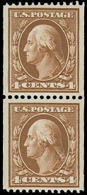 Cost of US Stamp Scott # 350: 4c 1910 Washington Coil. H.R. Harmer, Jun 2015, Sale 3007, Lot 3313