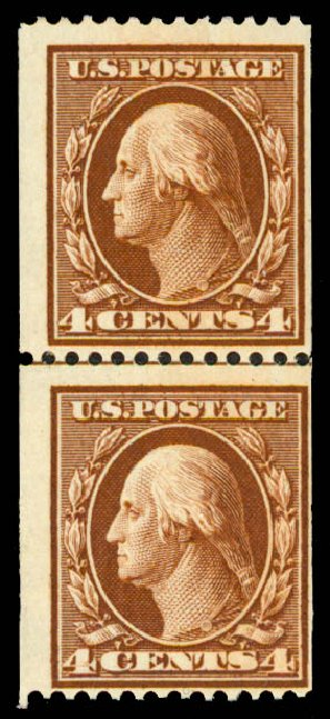 Price of US Stamps Scott #350: 4c 1910 Washington Coil. Daniel Kelleher Auctions, May 2015, Sale 669, Lot 2903