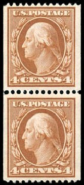 Cost of US Stamp Scott Cat. #350 - 1910 4c Washington Coil. Schuyler J. Rumsey Philatelic Auctions, Apr 2015, Sale 60, Lot 2336