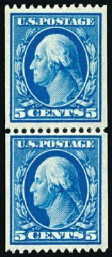 Prices of US Stamps Scott Catalog #351 - 5c 1909 Washington Coil. Schuyler J. Rumsey Philatelic Auctions, Apr 2015, Sale 60, Lot 2337