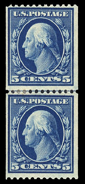 Cost of US Stamps Scott Catalog #351: 1909 5c Washington Coil. Cherrystone Auctions, May 2015, Sale 201505, Lot 39