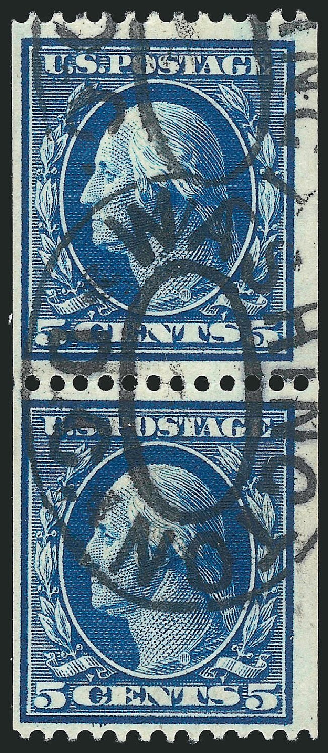 US Stamps Price Scott Cat. #351: 1909 5c Washington Coil. Robert Siegel Auction Galleries, Apr 2015, Sale 1096, Lot 584
