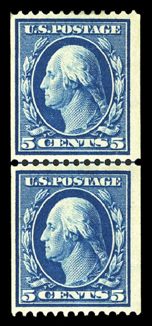 US Stamp Price Scott 351 - 1909 5c Washington Coil. Cherrystone Auctions, Jul 2015, Sale 201507, Lot 2122
