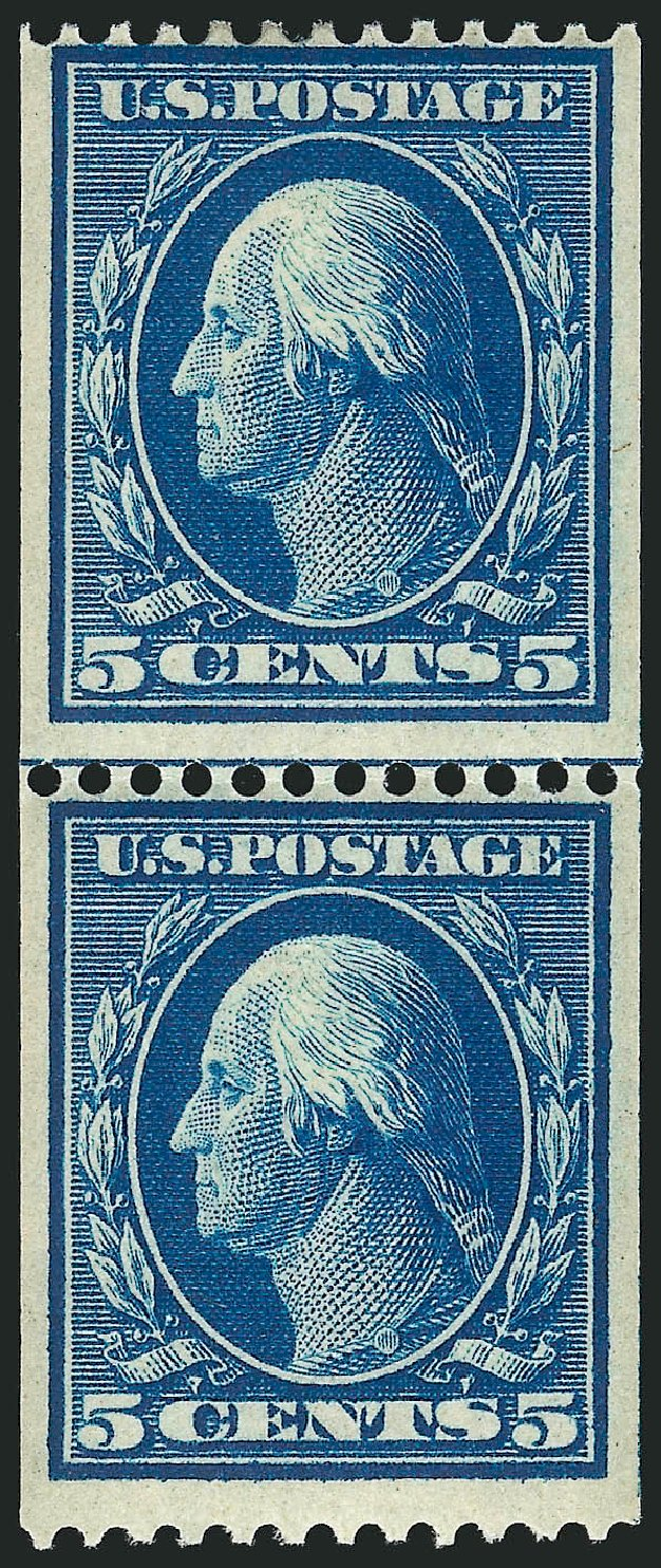 Costs of US Stamps Scott Catalogue 351: 1909 5c Washington Coil. Robert Siegel Auction Galleries, Apr 2015, Sale 1096, Lot 582