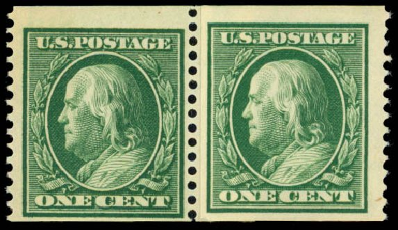 US Stamp Values Scott # 352: 1909 1c Franklin Coil. Daniel Kelleher Auctions, May 2014, Sale 652, Lot 528
