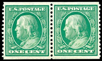 Costs of US Stamp Scott Catalogue # 352 - 1909 1c Franklin Coil. Schuyler J. Rumsey Philatelic Auctions, Apr 2015, Sale 60, Lot 2338