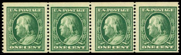 Value of US Stamps Scott Catalogue 352 - 1c 1909 Franklin Coil. Daniel Kelleher Auctions, May 2014, Sale 652, Lot 529