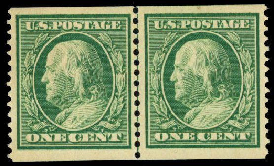 US Stamps Prices Scott Catalog 352 - 1c 1909 Franklin Coil. Daniel Kelleher Auctions, May 2014, Sale 652, Lot 530