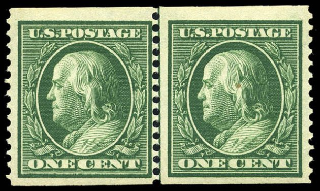 Value of US Stamps Scott Catalog #352: 1c 1909 Franklin Coil. Matthew Bennett International, May 2014, Sale 350, Lot 494