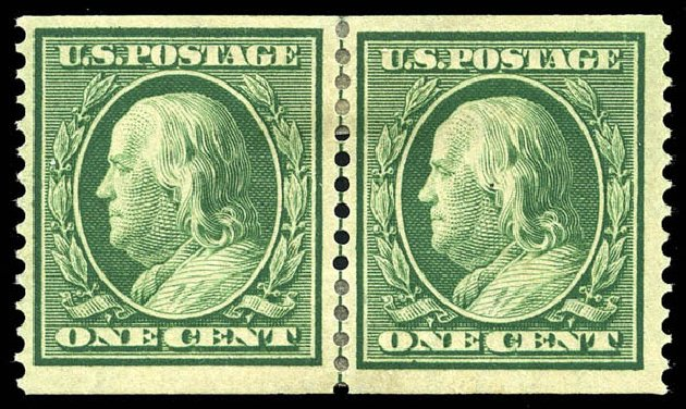 Values of US Stamp Scott # 352: 1909 1c Franklin Coil. Matthew Bennett International, May 2014, Sale 350, Lot 495