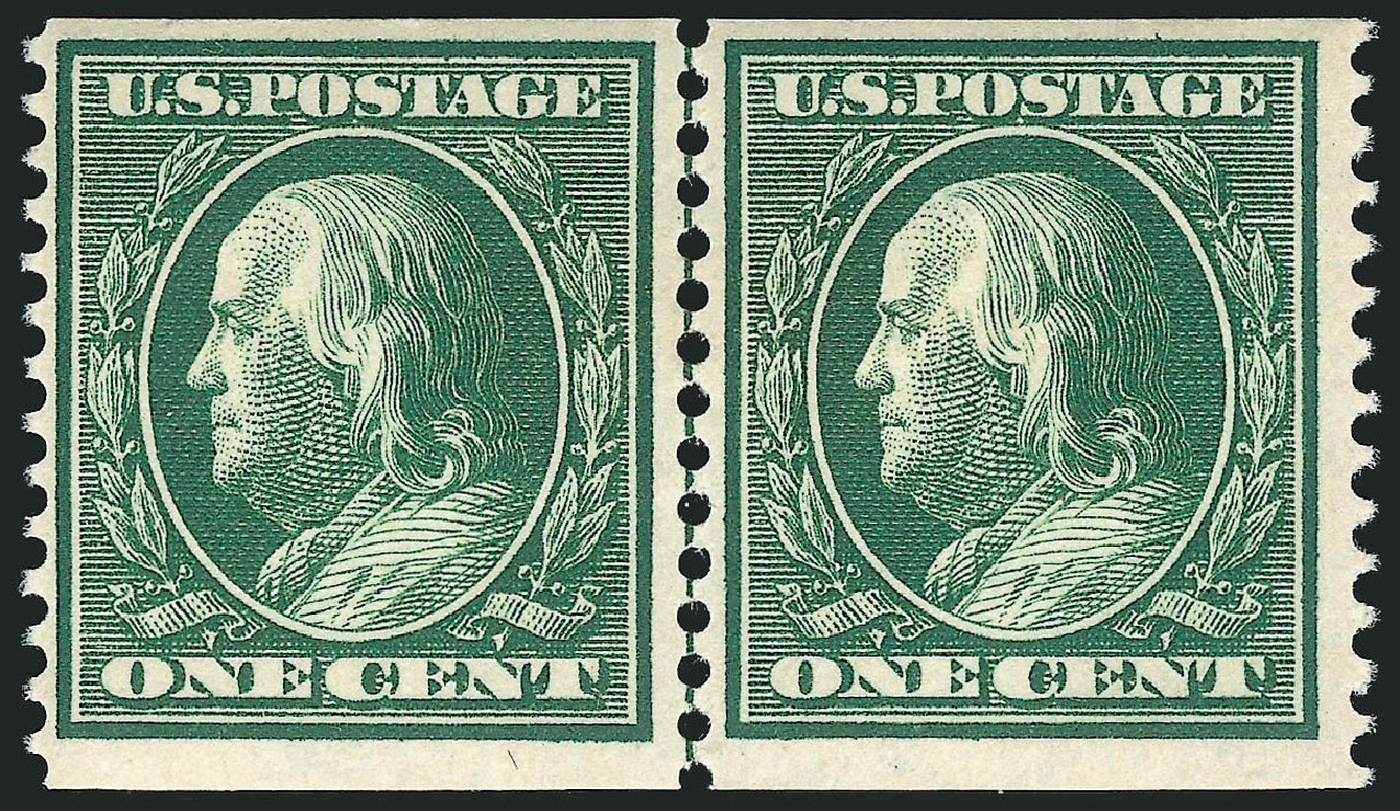 US Stamp Value Scott Cat. #352: 1909 1c Franklin Coil. Robert Siegel Auction Galleries, Apr 2015, Sale 1096, Lot 585