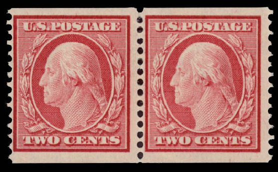 US Stamps Values Scott Catalog # 353: 1909 2c Washington Coil. Daniel Kelleher Auctions, May 2015, Sale 669, Lot 2905