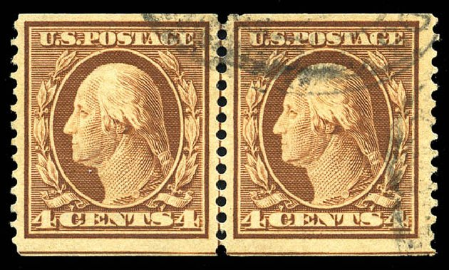 Value of US Stamps Scott Catalogue 354 - 1909 4c Washington Coil. Matthew Bennett International, Feb 2015, Sale 351, Lot 167