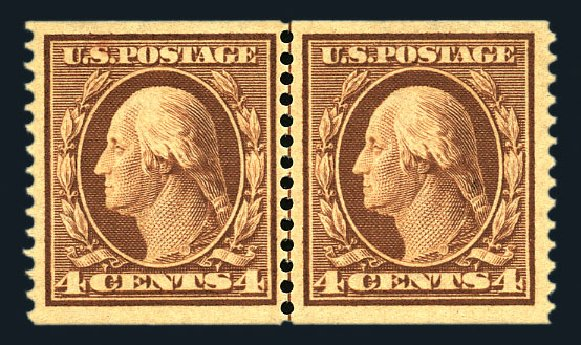 US Stamp Values Scott Catalog 354 - 1909 4c Washington Coil. Harmer-Schau Auction Galleries, Aug 2015, Sale 106, Lot 1767