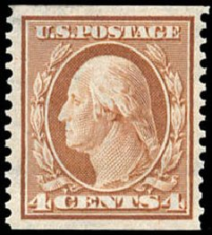 US Stamp Values Scott Catalog #354: 4c 1909 Washington Coil. Schuyler J. Rumsey Philatelic Auctions, Apr 2015, Sale 60, Lot 2339