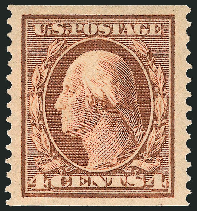 Values of US Stamps Scott Catalogue 354: 4c 1909 Washington Coil. Robert Siegel Auction Galleries, Apr 2015, Sale 1096, Lot 589