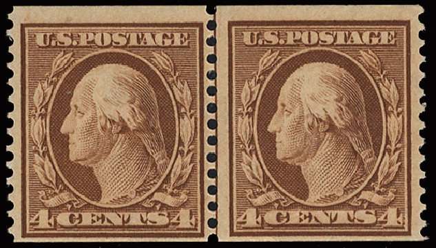 US Stamps Price Scott 354: 4c 1909 Washington Coil. Cherrystone Auctions, May 2015, Sale 201505, Lot 40
