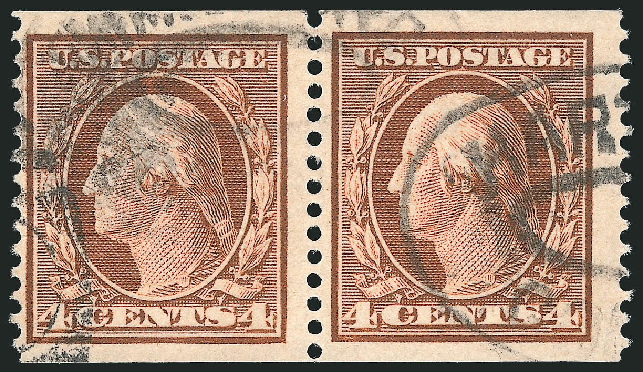 Costs of US Stamps Scott Catalog # 354 - 1909 4c Washington Coil. Robert Siegel Auction Galleries, Apr 2015, Sale 1096, Lot 590