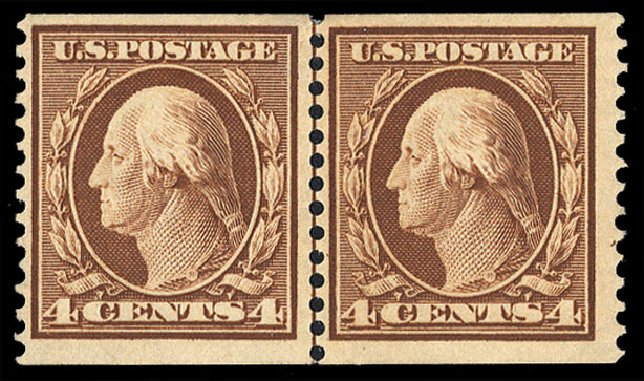 Price of US Stamp Scott Catalogue #354 - 4c 1909 Washington Coil. Cherrystone Auctions, Jul 2015, Sale 201507, Lot 75