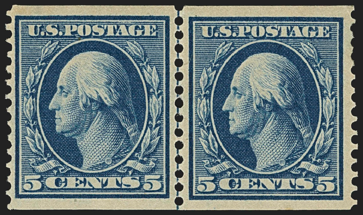 Price of US Stamps Scott Catalogue #355: 5c 1909 Washington Coil. Robert Siegel Auction Galleries, Jul 2015, Sale 1107, Lot 427