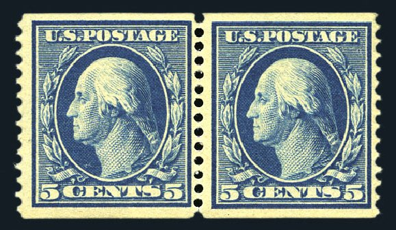 Costs of US Stamp Scott Catalog #355 - 5c 1909 Washington Coil. Harmer-Schau Auction Galleries, Aug 2015, Sale 106, Lot 1768