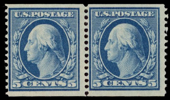 Values of US Stamp Scott Cat. #355: 5c 1909 Washington Coil. Daniel Kelleher Auctions, May 2015, Sale 669, Lot 2910