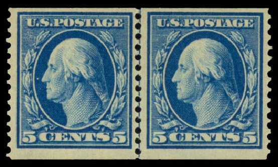 US Stamps Value Scott #355 - 5c 1909 Washington Coil. Daniel Kelleher Auctions, May 2015, Sale 669, Lot 2911