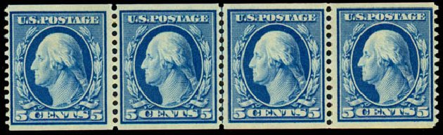 Prices of US Stamps Scott Catalog 355 - 1909 5c Washington Coil. Daniel Kelleher Auctions, Aug 2015, Sale 672, Lot 2661
