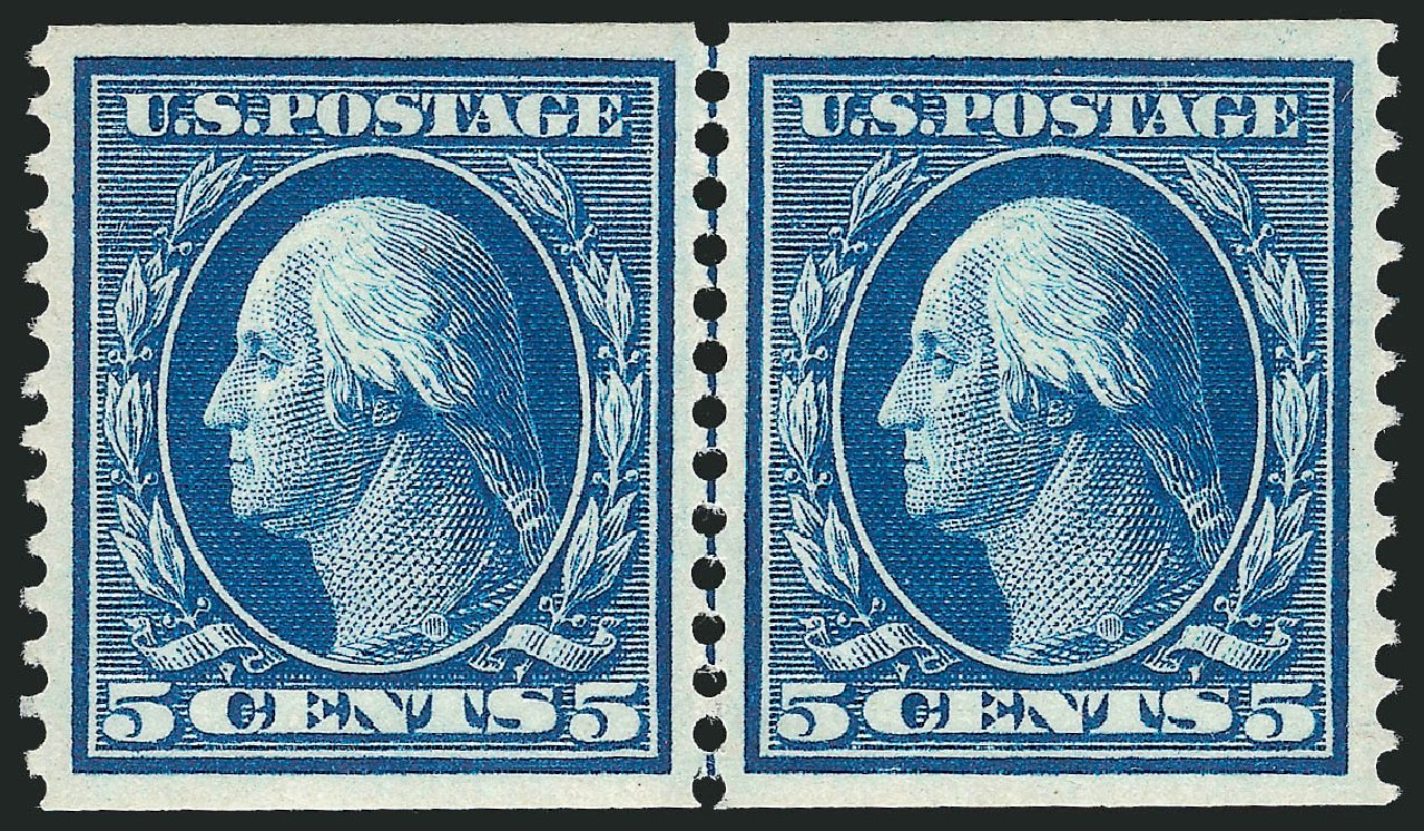 US Stamp Value Scott Catalogue 355 - 5c 1909 Washington Coil. Robert Siegel Auction Galleries, Apr 2015, Sale 1096, Lot 591