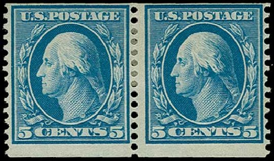 US Stamp Prices Scott Cat. # 355: 5c 1909 Washington Coil. H.R. Harmer, Jun 2015, Sale 3007, Lot 3315
