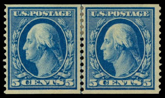 Prices of US Stamp Scott Catalog 355: 5c 1909 Washington Coil. Daniel Kelleher Auctions, May 2015, Sale 669, Lot 2912