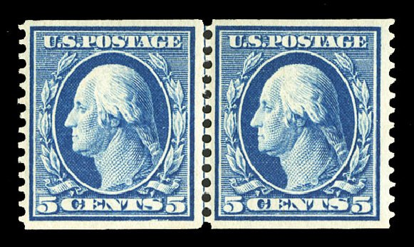 US Stamp Value Scott Catalogue 355 - 1909 5c Washington Coil. Cherrystone Auctions, Jul 2015, Sale 201507, Lot 2126
