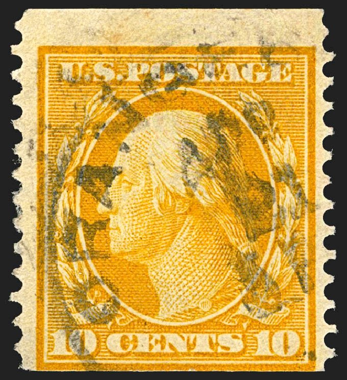 US Stamp Values Scott 356: 10c 1909 Washington Coil. Robert Siegel Auction Galleries, Jul 2015, Sale 1107, Lot 429