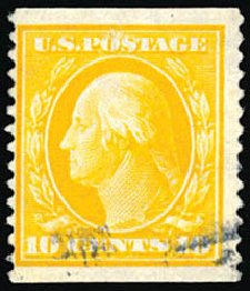 US Stamps Values Scott #356: 10c 1909 Washington Coil. Schuyler J. Rumsey Philatelic Auctions, Apr 2015, Sale 60, Lot 2346