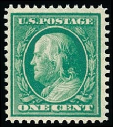 Value of US Stamp Scott #357 - 1909 1c Franklin Bluish Paper. Schuyler J. Rumsey Philatelic Auctions, Apr 2015, Sale 60, Lot 2347