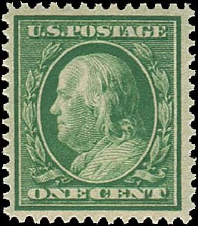 US Stamp Price Scott Cat. # 357 - 1909 1c Franklin Bluish Paper. Regency-Superior, Aug 2015, Sale 112, Lot 738