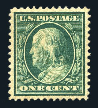 Value of US Stamps Scott Cat. # 357: 1909 1c Franklin Bluish Paper. Harmer-Schau Auction Galleries, Aug 2015, Sale 106, Lot 1769