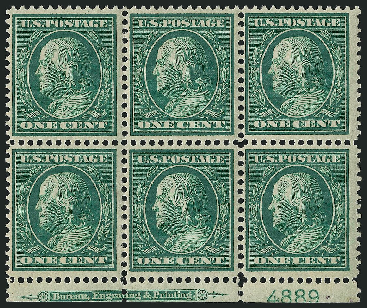 US Stamp Price Scott Catalog #357 - 1c 1909 Franklin Bluish Paper. Robert Siegel Auction Galleries, Apr 2015, Sale 1096, Lot 599