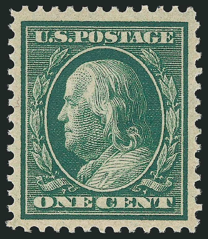 Values of US Stamps Scott Catalog # 357 - 1909 1c Franklin Bluish Paper. Robert Siegel Auction Galleries, Feb 2015, Sale 1093, Lot 150