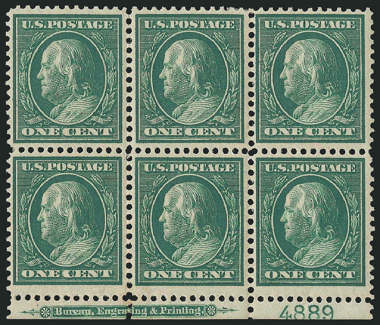 Value of US Stamps Scott Catalog #357: 1909 1c Franklin Bluish Paper. Robert Siegel Auction Galleries, Feb 2015, Sale 1093, Lot 151