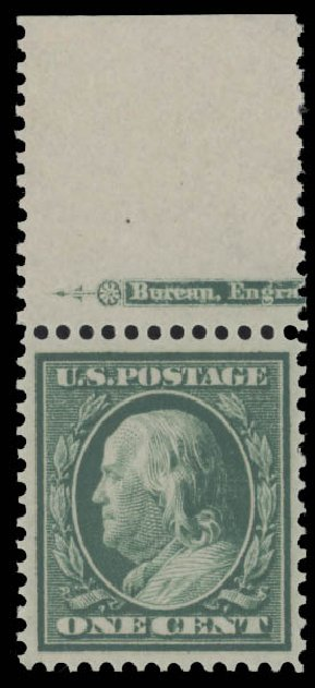 Value of US Stamp Scott Cat. #357 - 1c 1909 Franklin Bluish Paper. Daniel Kelleher Auctions, Aug 2015, Sale 672, Lot 2662