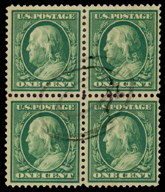 Values of US Stamps Scott # 357 - 1909 1c Franklin Bluish Paper. Daniel Kelleher Auctions, May 2015, Sale 669, Lot 2916