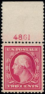 US Stamp Values Scott 358 - 1909 2c Washington Bluish Paper. Schuyler J. Rumsey Philatelic Auctions, Apr 2015, Sale 60, Lot 2797