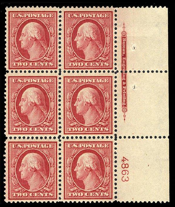US Stamps Values Scott Catalog 358 - 1909 2c Washington Bluish Paper. Cherrystone Auctions, Jan 2015, Sale 201501, Lot 180