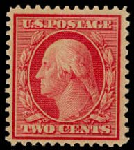 Values of US Stamp Scott Cat. #358 - 1909 2c Washington Bluish Paper. Daniel Kelleher Auctions, Aug 2015, Sale 672, Lot 2664