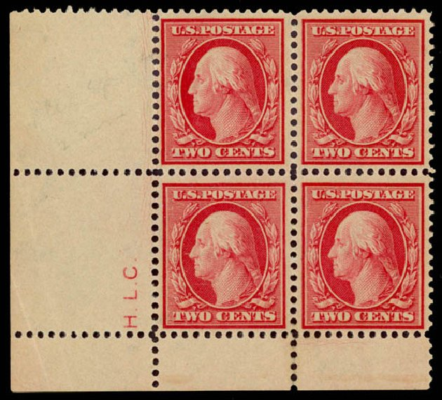 US Stamp Value Scott Catalog # 358: 1909 2c Washington Bluish Paper. Daniel Kelleher Auctions, Aug 2015, Sale 672, Lot 2665